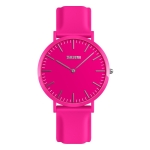 SKMEI 1979 Pure Color Bar Scale Round Dial Silicone Strap Couple Quartz Watch(Rose Red Female)