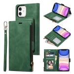 Side Zipper Back Card Horizontal Flip PU Leather Case with Card Slots & Wallet & Photo Frame & Lanyard For iPhone 12 / 12 Pro(Green)