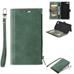 Side Zipper Back Card Horizontal Flip PU Leather Case with Card Slots & Wallet & Photo Frame & Lanyard For iPhone 8 Plus / 7 Plus(Green)