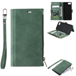 Side Zipper Back Card Horizontal Flip PU Leather Case with Card Slots & Wallet & Photo Frame & Lanyard For iPhone SE 2020 / 8 / 7(Green)