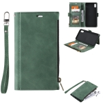 Side Zipper Back Card Horizontal Flip PU Leather Case with Card Slots & Wallet & Photo Frame & Lanyard For iPhone XS Max(Green)