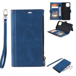 Side Zipper Back Card Horizontal Flip PU Leather Case with Card Slots & Wallet & Photo Frame & Lanyard For iPhone 12 Pro Max(Blue)