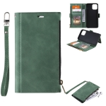 Side Zipper Back Card Horizontal Flip PU Leather Case with Card Slots & Wallet & Photo Frame & Lanyard For iPhone 12 Pro Max(Green)
