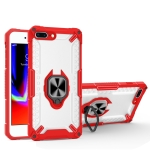 Matte TPU + PC Magnetic Shockproof Case with Ring Holder For iPhone 8 Plus / 7 Plus(Red)
