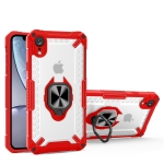 Matte TPU + PC Magnetic Shockproof Case with Ring Holder For iPhone XR(Red)