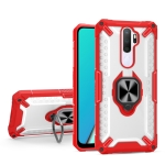 Matte TPU + PC Magnetic Shockproof Case with Ring Holder For OPPO A9 2020(Red)