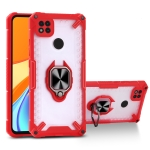Matte TPU + PC Magnetic Shockproof Case with Ring Holder For Xiaomi Redmi 9C(Red)