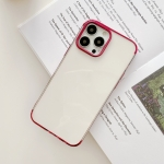 Three Sections Electroplating TPU Protective Case For iPhone 13 Pro Max(Rose Red)