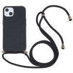 Wheat Straw Material + TPU Shockproof Case with Neck Lanyard For iPhone 13 mini(Black)