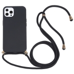 Wheat Straw Material + TPU Shockproof Case with Neck Lanyard For iPhone 13 Pro Max(Black)