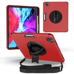360 Degree Rotation Turntable Robot Shockproof TPU + PC Protective Case with Holder & Hand Grip Strap & Shoulder Strap For iPad Pro 12.9 2020(Red Black)