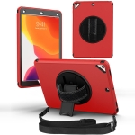 360 Degree Rotation Turntable Robot Shockproof TPU + PC Protective Case with Holder & Hand Grip Strap & Shoulder Strap For iPad Pro 10.5(Red Black)