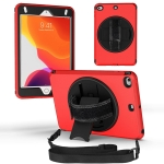 360 Degree Rotation Turntable Robot Shockproof TPU + PC Protective Case with Holder & Hand Grip Strap & Shoulder Strap For iPad mini 6(Red Black)