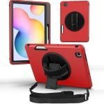 360 Degree Rotation Turntable Robot Shockproof TPU + PC Protective Case with Holder & Hand Grip Strap & Shoulder Strap For Samsung Galaxy Tab S6 Lite(Red Black)