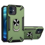 PC + TPU Protective Case with 360 Degrees Rotatable Ring Holder For iPhone 12(Dark Green)