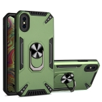 PC + TPU Protective Case with 360 Degrees Rotatable Ring Holder For iPhone XS Max(Dark Green)