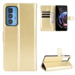 For Motorola Moto Edge 20 Pro / Edge S Pro Crazy Horse Texture Horizontal Flip Leather Case with Holder & Card Slots & Lanyard(Gold)