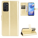 For OPPO A16 Crazy Horse Texture Horizontal Flip Leather Case with Holder & Card Slots & Lanyard(Gold)