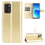 For OPPO Reno6 Z Crazy Horse Texture Horizontal Flip Leather Case with Holder & Card Slots & Lanyard(Gold)