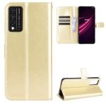 For T-Mobile REVVL V+ 5G Crazy Horse Texture Horizontal Flip Leather Case with Holder & Card Slots & Lanyard(Gold)
