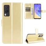 For vivo V21E 5G Crazy Horse Texture Horizontal Flip Leather Case with Holder & Card Slots & Lanyard(Gold)