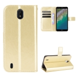 For Nokia C01 Plus Crazy Horse Texture Horizontal Flip Leather Case with Holder & Card Slots & Lanyard(Gold)