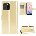 For Oukitel C21 Pro Crazy Horse Texture Horizontal Flip Leather Case with Holder & Card Slots & Lanyard(Gold)