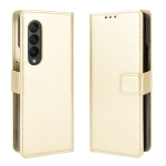 For Samsung Galaxy Z Fold3 5G Crazy Horse Texture Horizontal Flip Leather Case with Holder & Card Slots & Lanyard(Gold)