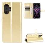 For Xiaomi Poco F3 GT Crazy Horse Texture Horizontal Flip Leather Case with Holder & Card Slots & Lanyard(Gold)