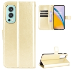 For OnePlus Nord 2 5G Crazy Horse Texture Horizontal Flip Leather Case with Holder & Card Slots & Lanyard(Gold)