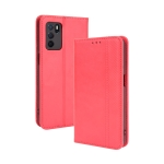 For OPPO A16 Magnetic Buckle Retro Crazy Horse Texture Horizontal Flip Leather Case with Holder & Card Slots & Photo Frame(Red)