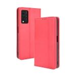 For T-Mobile REVVL V+ 5G Magnetic Buckle Retro Crazy Horse Texture Horizontal Flip Leather Case with Holder & Card Slots & Photo Frame(Red)