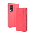For vivo V21e 5G Magnetic Buckle Retro Crazy Horse Texture Horizontal Flip Leather Case with Holder & Card Slots & Photo Frame(Red)