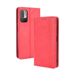For Xiaomi Redmi Note 10 5G Magnetic Buckle Retro Crazy Horse Texture Horizontal Flip Leather Case with Holder & Card Slots & Photo Frame(Red)