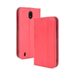 For Nokia C01 Plus Magnetic Buckle Retro Crazy Horse Texture Horizontal Flip Leather Case with Holder & Card Slots & Photo Frame(Red)
