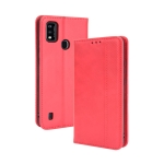For ZTE Blade A51 Magnetic Buckle Retro Crazy Horse Texture Horizontal Flip Leather Case with Holder & Card Slots & Photo Frame(Red)