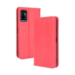 For ZTE Blade A71 Magnetic Buckle Retro Crazy Horse Texture Horizontal Flip Leather Case with Holder & Card Slots & Photo Frame(Red)