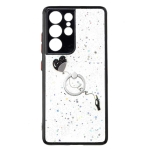 For Samsung Galaxy S21 Ultra 5G Colored Drawing Starry Sky Epoxy TPU Shockproof Case with Ring Holder(Heart)