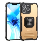 Fierce Warrior Series Armor All-inclusive Shockproof Aluminum Alloy + TPU Protective Case with Ring Holder For iPhone 13 Pro(Gold)
