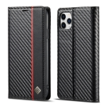 LC.IMEEKE Carbon Fiber PU + TPU Horizontal Flip Leather Case with Holder & Card Slot & Wallet For iPhone 11 Pro(Vertical Black)