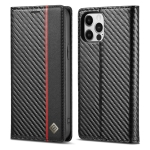 LC.IMEEKE Carbon Fiber PU + TPU Horizontal Flip Leather Case with Holder & Card Slot & Wallet For iPhone 12 / 12 Pro(Vertical Black)