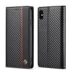 LC.IMEEKE Carbon Fiber PU + TPU Horizontal Flip Leather Case with Holder & Card Slot & Wallet For iPhone XR(Vertical Black)