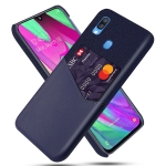 For Samsung Galaxy A40 Cloth Texture PC + PU Leather Back Cover Shockproof Case with Card Slot(Blue)