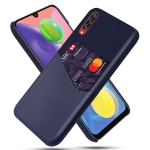 For Samsung Galaxy A70s Cloth Texture PC + PU Leather Back Cover Shockproof Case with Card Slot(Blue)