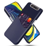 For Samsung Galaxy A80 Cloth Texture PC + PU Leather Back Cover Shockproof Case with Card Slot(Blue)
