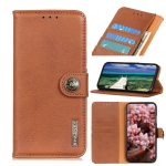 For Motorola Edge 20 Lite KHAZNEH Cowhide Texture Horizontal Flip Leather Case with Holder & Card Slots & Wallet(Brown)