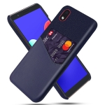 For Samsung Galaxy M01 Core Cloth Texture PC + PU Leather Back Cover Shockproof Case with Card Slot(Blue)