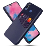 For Samsung Galaxy M30 Cloth Texture PC + PU Leather Back Cover Shockproof Case with Card Slot(Blue)