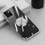 Electroplating Silicone Shockproof Case with Ring Holder For iPhone 13(Silver)