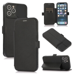 Push Window Double Buckle PU + Silicone Horizontal Flip Leather Case with Holder & Card Slot For iPhone 12 Pro Max(Black)